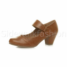 Womens Ladies Low Mid Heel Comfort Mary Jane Strap Hook & Loop Court Shoes Size Tan Matte UK 7 / EU 40 / US 9