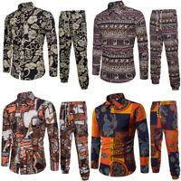 Men Flax Casual Long Sleeve Shirt Business Slim Fit Shirt Print Blouse Top+Pants