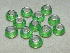 12 Light Green Faceted Acrylic Beads Fit European Charm Bracelet - Metal Core