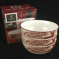 "Set of 3 Cereal Bowls 5 3/4"" by Gibson Home Burlap Reindeer Christmas Rustic NEW"