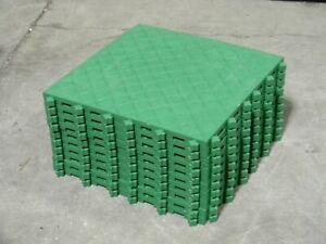 "Lot of 10 Ergo Advantage Modular PVC Anti-Fatigue Mat Tile Green 18"" x 18"""