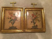 Antique Borghese Italian Floral Wall Art 2 Pieces Original Authentic