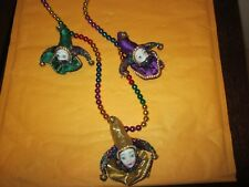 Mardi Gras Beads With Three Faces New No Tags