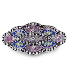 BA62 Clear Crystal Rhinestone Colorful Painted Vintage Alloy Barrette Hair Clip