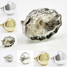 Mirrored Silver Glass Knob, Pull, Handle, for Cupboards, Doors, Cabinets, Drawer