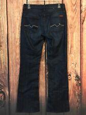 7 FOR ALL MANKIND Jeans High Waist Bootcut Dark Wash Silver Studded Sz 28 X 32