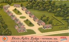 HATTIESBURG, Mississippi MS   Roadside  DIXIE MOTOR LODGE  1940s Linen  Postcard