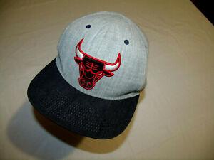 Chicago Bulls Gray Hat/Dark Denim Brim Mitchell & Ness 15% Wool Adult Snapback