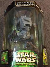 Star Wars Power Of The Jedi Imperial AT-ST & Speeder Bike with Paploo Ewok-NIB