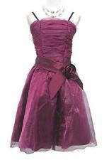 Size 6-8 Cherlone Dk Purple Satin Organza Formal Evening Dress #B2026 NWT