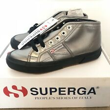 Superga 2754 Midtop Negro/Plata Metálico Zapatillas Sneakers-Reino Unido 3 EUR 35.5