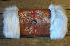 Victorian Steampunk Muff, Hand Warmer, Gray Fur, Gold and Red Embroidered Bee