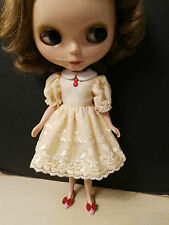 Blythe Doll Outfit Flower print Yellow Lace  Dress