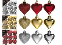 9 x 4cm Christmas Tree Baubles Shatterproof Glitter Decorations Red Gold Silver