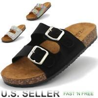Women's Cork Summer Sandals Slip-On Shoes Slippers Double Strap Platform Slide