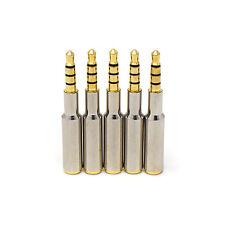 5 x MASCHIO a 4 POLI 45mm Donna 3.5mm Argento Placcato Oro in Metallo Jack per Cuffie