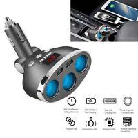 120W Car LCD Cigarette Lighter Socket Splitter 12-24V Dual USB Charger Adapter
