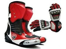 DUCATI RED MOTOGP MOTORBIKE MOTORCYCLE COWHIDE LEATHER BIKERS BOOTS AND GLOVES