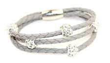 Shamballa Beads on Three Strands of PU Leather Bracelet with Magnetic Clasp