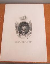 Antique Engraving of JOHN PAUL JONES, REVOLUTIONARY WAR Naval Hero