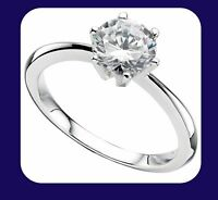 1 Carat Solitaire Engagement Ring Sterling Silver 925 Hallmark