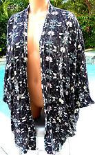 Victorias Secret coverup beach jacket robe kimono M L oversized black butterfly