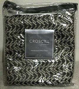 Croscill Home European Pillow Sham 26 x 26 Portland Polyester Black Multi New