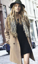 New $228 EXPRESS Extreme Faux Fur Collar Belted Wool Blend Coat Camel Beige Sz L