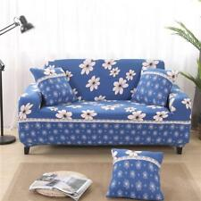 Spandex 2-Seater Sofa Couch Seat Cover Louge Slipcover Protector-Blue Floral
