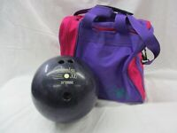 Columbia 300 Bowling Ball 12 Pound Black Purple Swirl and Pink Purple Bag (AL)