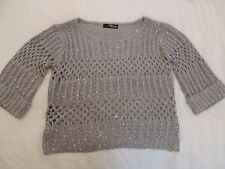 womens jane norman 3/4 sleeve grey sequin jumper size 6