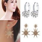 2 Pair Elegant Women Ear Stud Crystal Rhinestone Hoop Earrings & Star Earrings