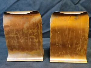 Pair of Coppercraft Arts & Crafts Cattail Bookend Hammered Copper Roycroft Style