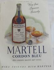 Vintage 1954 Martell Cordon Bleu Liqueur Brandy Advertisement, Vintage Print Ad