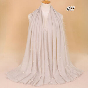 Women's Plain Crinkle Cotton Scarf Shawls Muslim Hijab Wraps with Pearl Beads