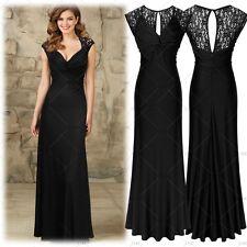 Women's Elegant V-Neck Formal Evening Party Black Bridesmaid Lace Slim Dresses