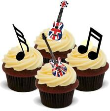 Novelty Union Jack Guitars Musical Notes Mix 12 Stand up Edible Cake Toppers