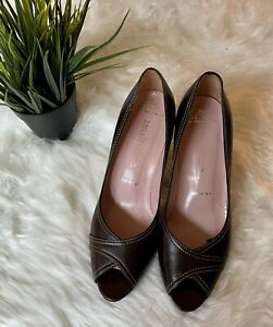 Amalfi Nordstrom Brown Leather Peep Toe Pumps Sz 8.5 Heels Insolia Italy Shoes