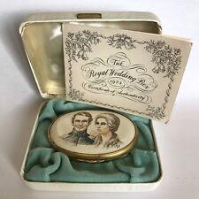 Halcyon Days Enamel Trinket Box 1973 Royal Wedding Princess Anne Boxed Ltd 250