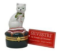 "Vintage Silvestri 1998 CAT KITTY Christmas Trinket Box 4"" Porcelain Figurine"