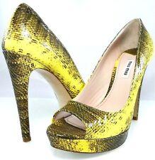 MIU MIU by Prada Snake Leather Peep-toe Pump Platform HEELS Shoes 37.5 7