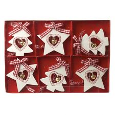 6 Red & White Christmas tree & star decorations with bell & gingham bow (K)