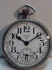 Scarce 1920 ELGIN 21j FATHER TIME 16s RAILROAD Pocket Watch w/ Montgomery Dial