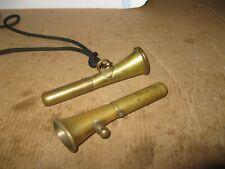 (2) Vintage Brass / Bronze Maritime Ship Small Neckline Signal Whistles - Works