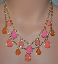New Sofia Vergara Pink & Coral Tear Drop Gold-Tone Multi Chain Pendant Necklace