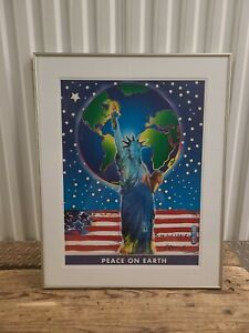 """Signed Peter Max Peace On Earth 9/11 Tribute Framed Print 2001 30""""x24"""""""