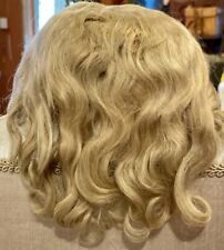 """A25 Antique Finest 12"""" Handtied Blond Mohair Wig for Antique Bisque Doll"""