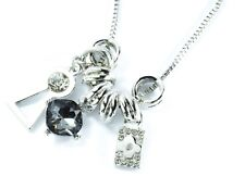 Silver Tone Necklace Womens Design Celebrity Statement Long Chain Stone Charms