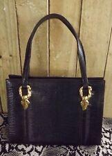 Vintage Mid Century Signed Martin Van Schaak Black Lizard Leather Handbag RARE