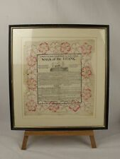 Framed Original White Star Line Titanic Memorial Paper Napkin